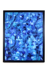 Joan Smith, Framed Blue Abstract Oil Painting
