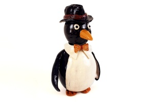 Lynn Lavin, Mr. P On The Town, Earthenware Penguin Sculpture